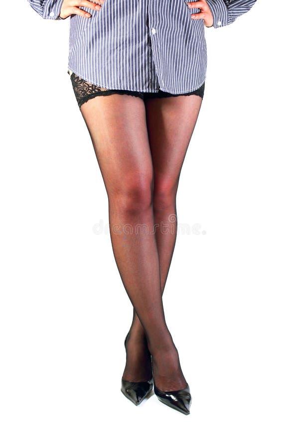 Formschöne weibliche Beine in den schwarzen Strümpfen. lizenzfreie stockbilder
