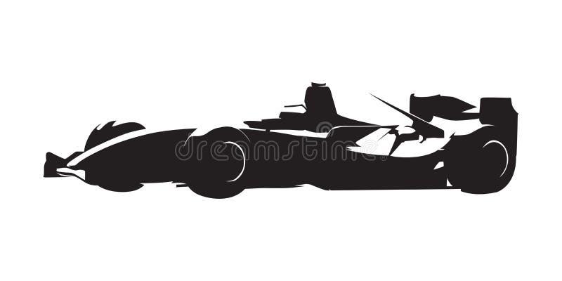 Formuła bieżny samochód, odosobniona wektorowa sylwetka Boczny widok ilustracji