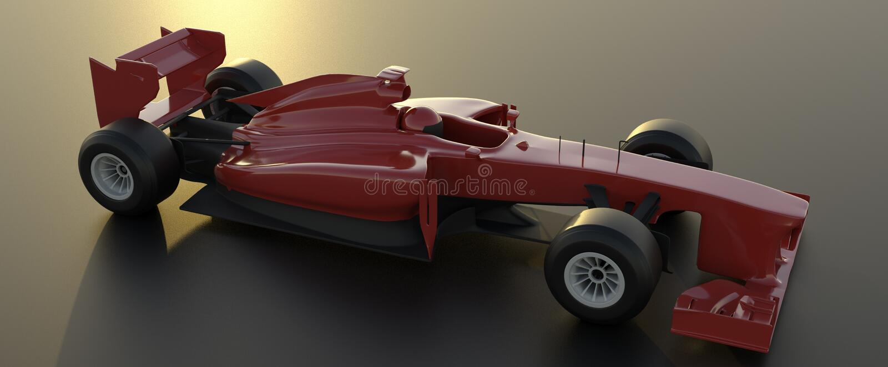 Formuła 1, czerwony samochód, 3d odpłaca się ilustracja wektor