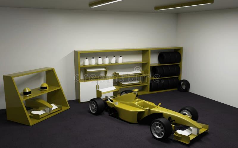 Formuła Jeden, bieżny samochód w garażu ilustracji