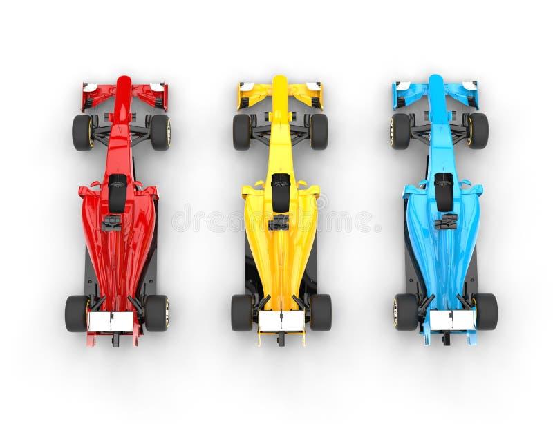 Formuła Jeden samochody odgórny widok - początkowi kolory - obraz royalty free