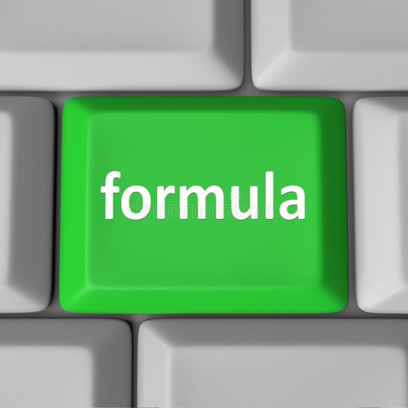 Formuła Komputerowego klucza guzik Kalkuluje postaci rozwiązania problem royalty ilustracja