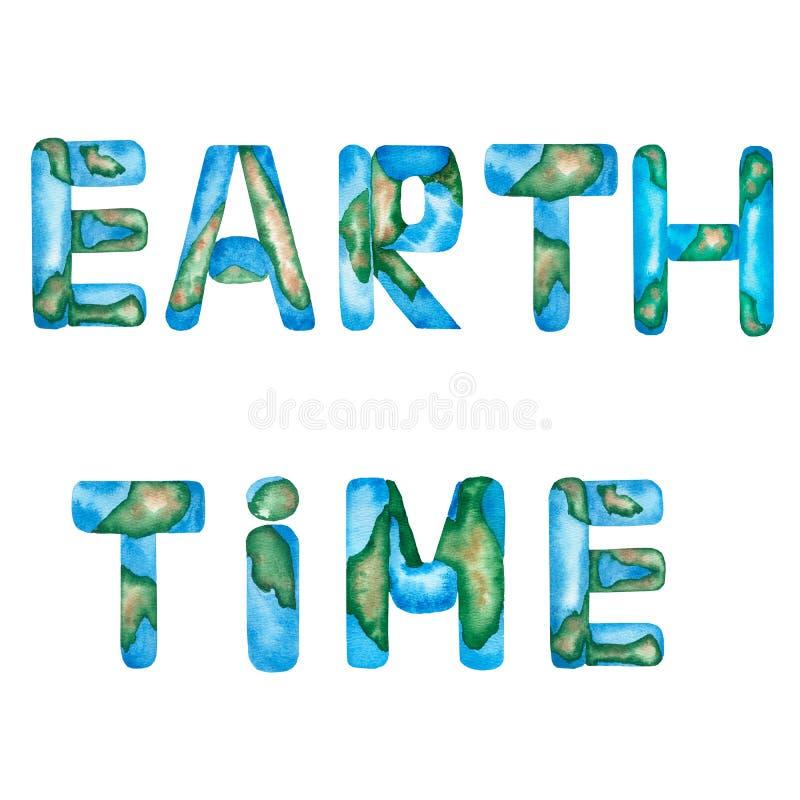 Formułuje «ziemi «i «czasu «inskrypcję w kolorze Listy imituje błękitnego ocean i ziemię Literowanie element ja ilustracja wektor