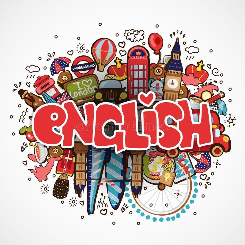 Formułuje angielszczyzny na białym tle z England elementami, przedmioty i podróżny pojęcie edukacyjni - Wektorowa zabawa ilustracja wektor