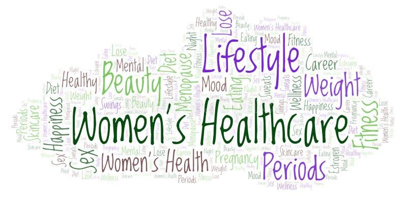 Formułuje chmurę z tekst kobietami 's opieka zdrowotna na białym tle royalty ilustracja
