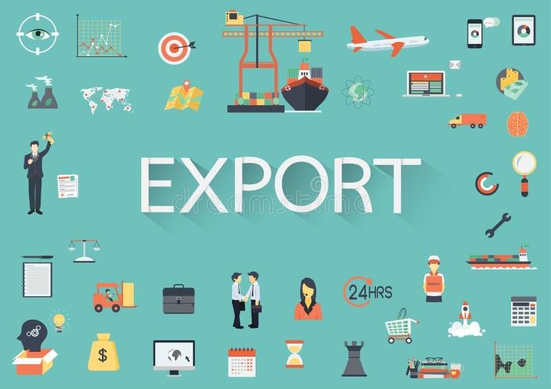 Formułuje eksport z dużym setem wokoło płaskie ikony ilustracji