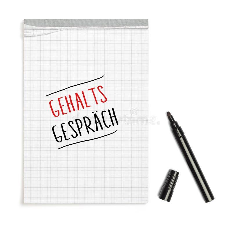 Formułuje Gehaltsgespraech niemiec dla pensyjnych negocjacj na notepa obraz stock