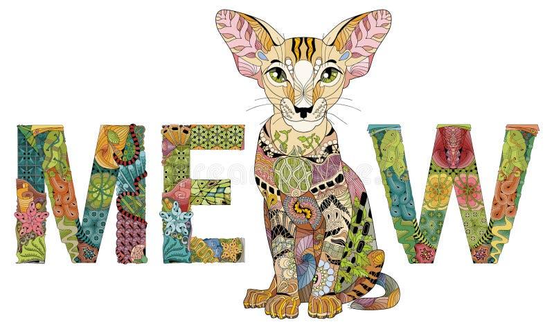 Formułuje MEOW z rysunkiem kot Wektorowy zentangle przedmiot dla dekoraci ilustracji