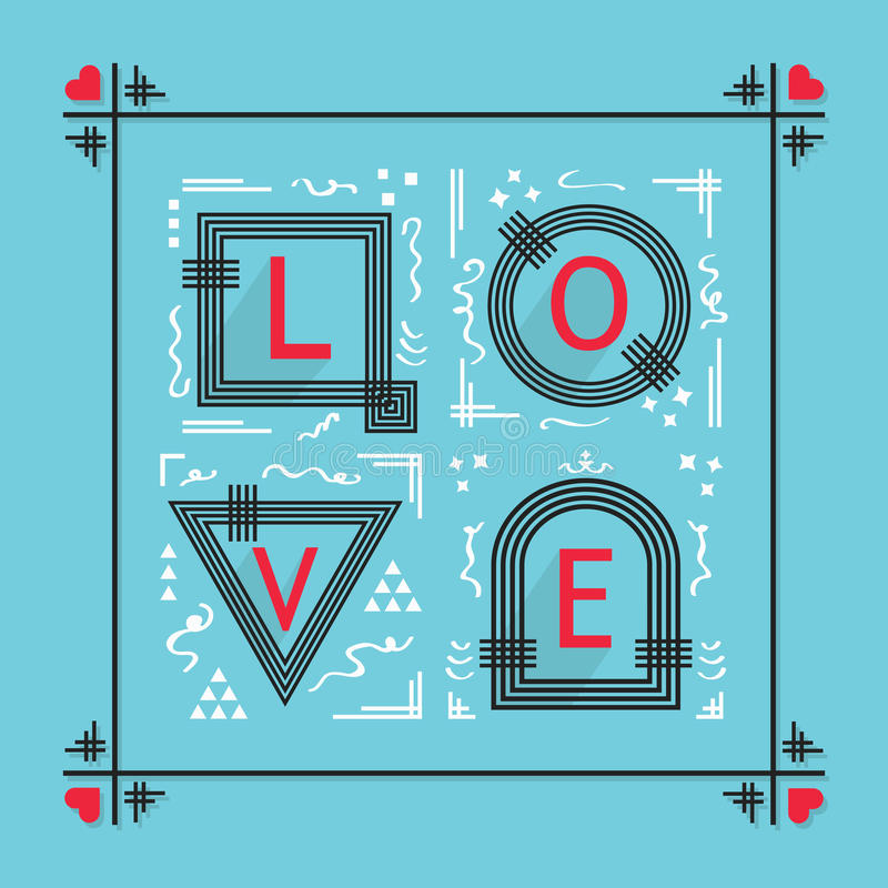 Formułuje miłości z geometrical kształtów emblematami na błękitnym tle ilustracji