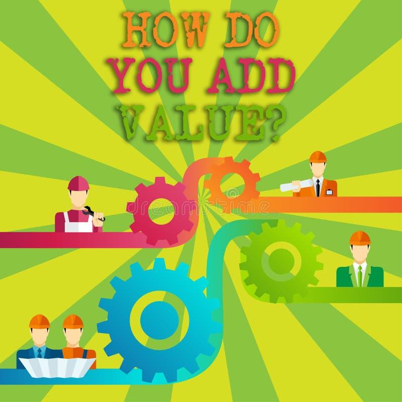 Formułuje pisać tekscie Jak Ty Dodajesz Valuequestion Biznesowy pojęcie dla Przynosiłem biznesowego postępu przyczynia się zarabi ilustracja wektor