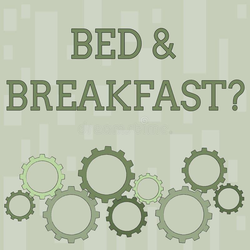 Formułuje pisać teksta łóżku śniadaniowy pytanie - i - Biznesowy pojęcie dla opisuje równy catering zawierać hotel ceny royalty ilustracja