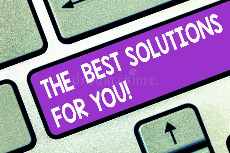 Formułuje pisać tekstowi Najlepszy rozwiązaniach Dla Ciebie Biznesowy pojęcie dla Pomyślnych pomysłów dla rozwiązywać niedogodnoś obrazy stock