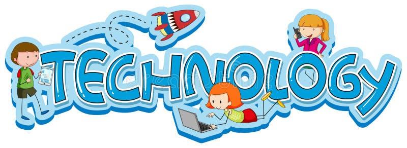 Formułuje projekt dla technologii z dzieciakami i gadżetami ilustracji