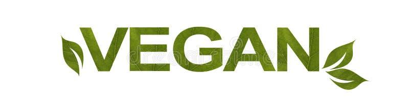 Formułuje weganinu od zielonego liścia odizolowywającego na białym tle, makro- strzał Pojęcie: życzliwy, tekst royalty ilustracja