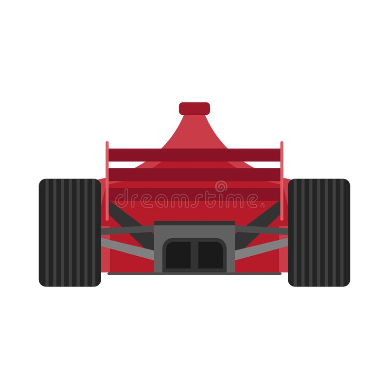 Formuły 1 bieżnego samochodu plecy widoku wektoru czerwona ikona Mistrzostwa jeden motorsport f1 pojazdu krańcowa przejażdżka ilustracji