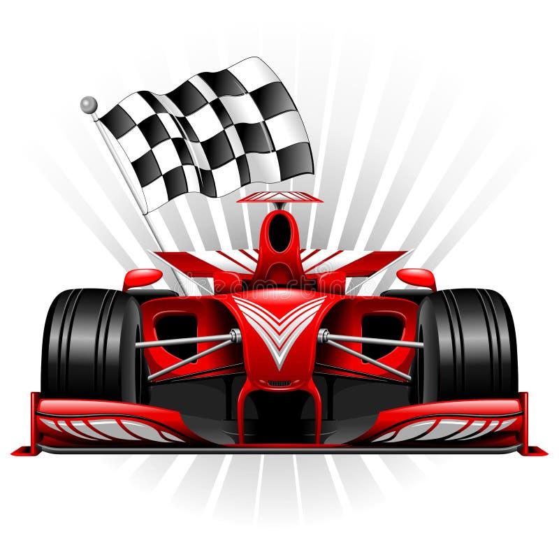 Formuły 1 Czerwony samochód wyścigowy z W kratkę Chorągwianą Wektorową ilustracją ilustracja wektor