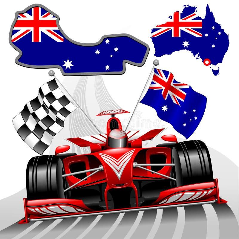 Formuły 1 GP Australia Bieżnego samochodu wektoru Czerwona ilustracja ilustracji