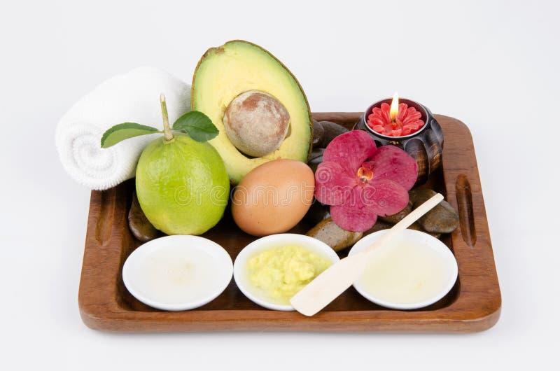 Formuły ręki pętaczka z avocado, oatmeal, jajecznymi biel i cytryna sokiem. zdjęcia stock