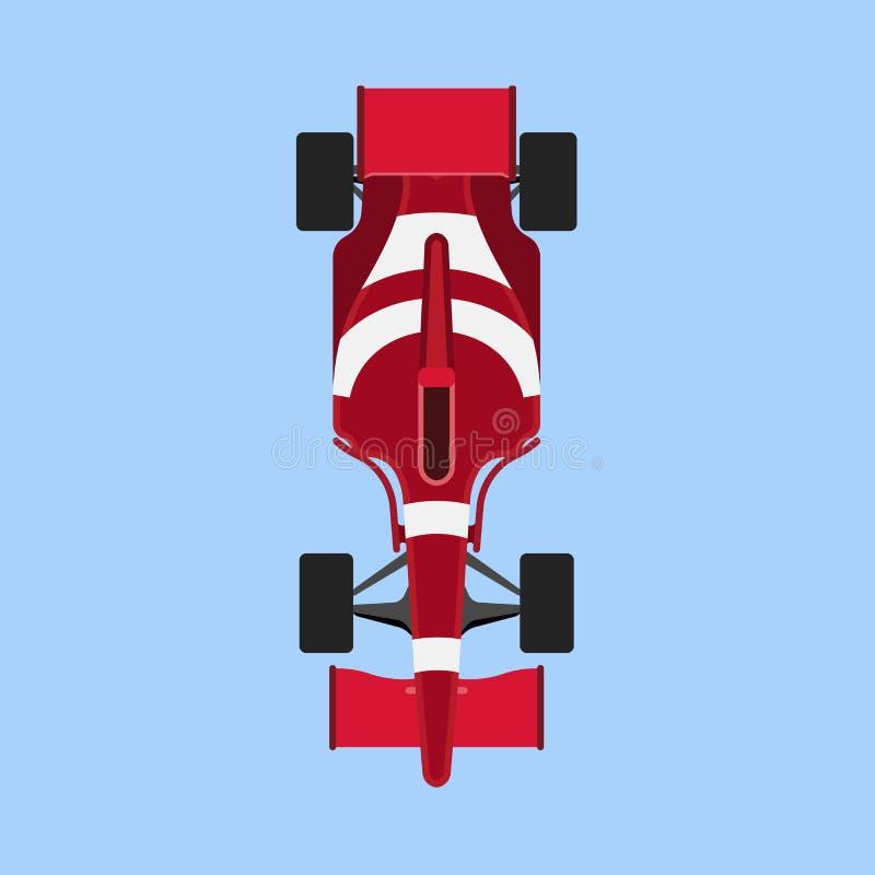 Formuły 1 samochodu wyścigowego sporta wektorowej ikony odgórny widok Prędkość samochodu f1 mistrza czerwieni pojazd Bolidu zlotn ilustracja wektor