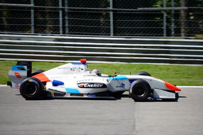 Formuły V8 pilot Tereshchenko w akci zdjęcia royalty free