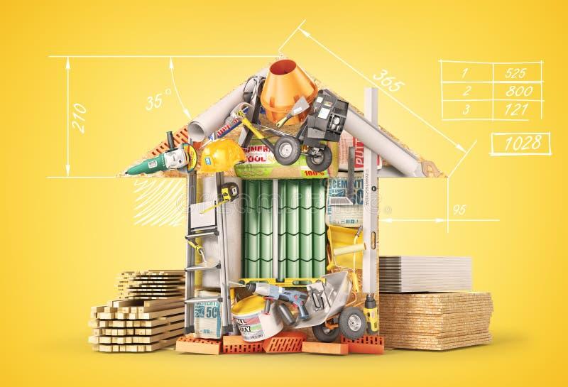 Formulário apresentado materiais de construção da casa ilustração 3D ilustração royalty free