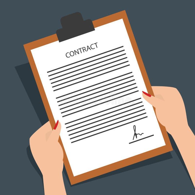 Formulário assinado leitura do contrato da mulher Ilustração do vetor ilustração do vetor