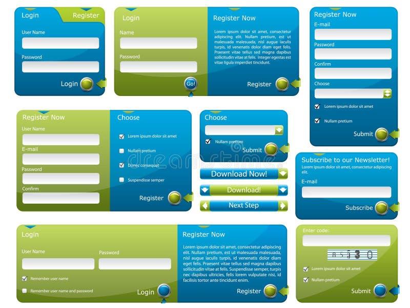 Formulário azul e verde do Web ilustração royalty free