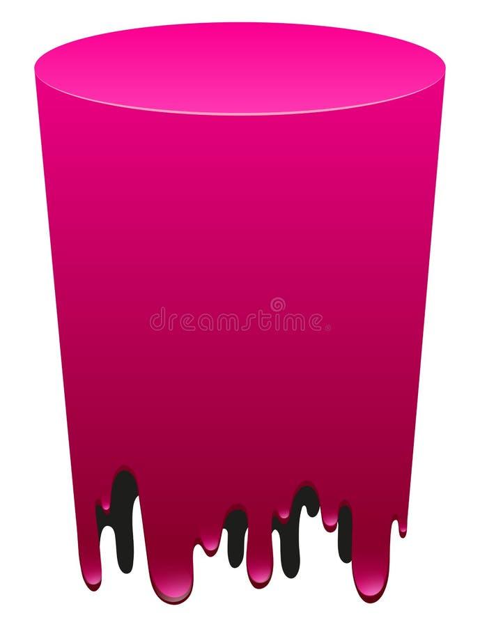 Formulário cilíndrico cor-de-rosa no branco ilustração stock