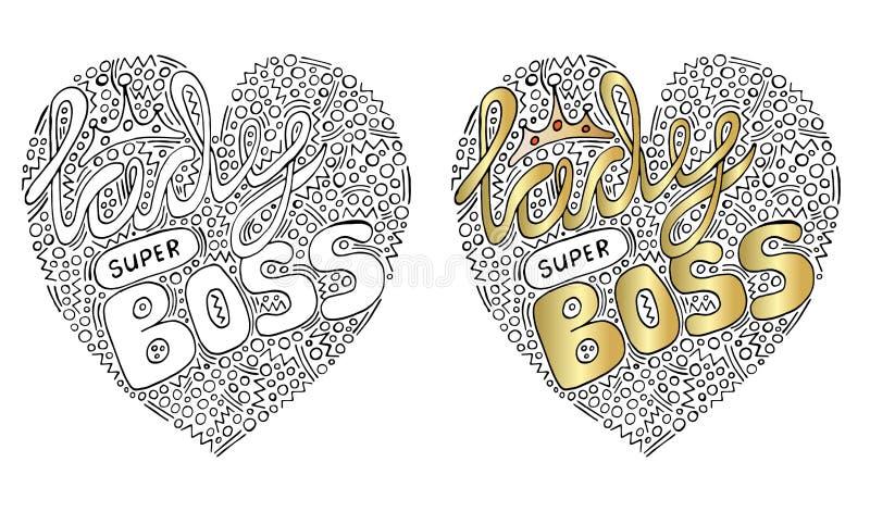 Formulário colorido do coração do vetor com texto super do chefe da senhora para o livro para colorir ilustração do vetor