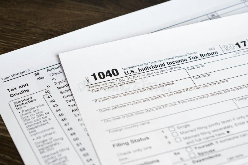 formulário 1040 com imposto e créditos seção, close up disparado foto de stock royalty free