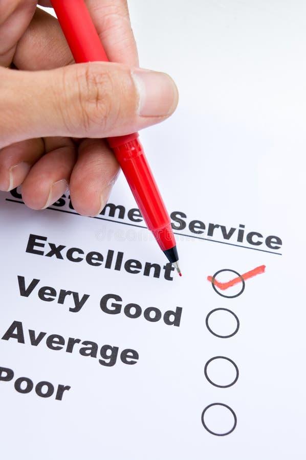 Formulário da avaliação do serviço ao cliente fotos de stock