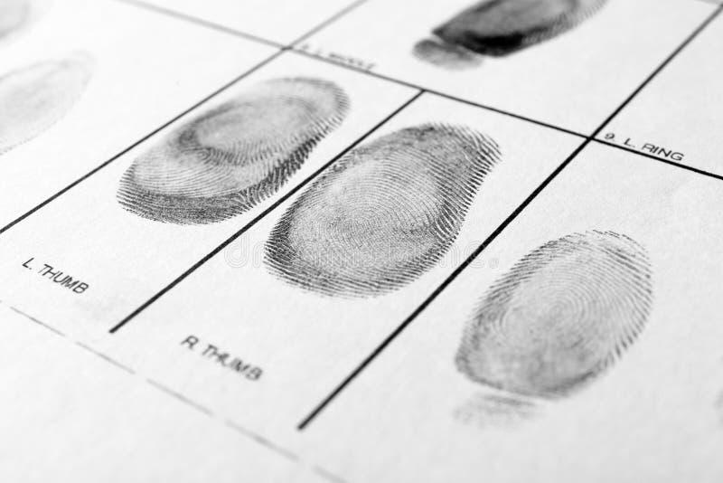 Formulário da polícia com impressões digitais Análise forense foto de stock