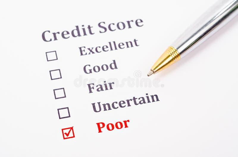 Formulário da pontuação de crédito foto de stock royalty free