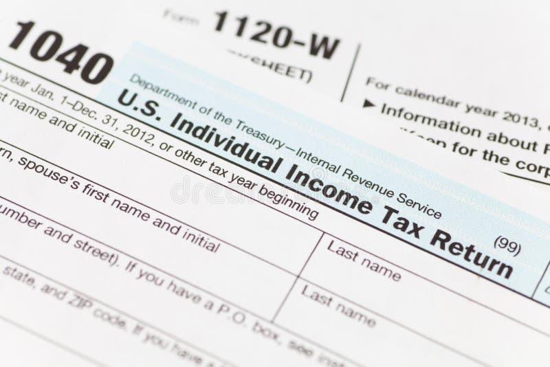 Formulário da renda de imposto dos E.U. fotografia de stock royalty free
