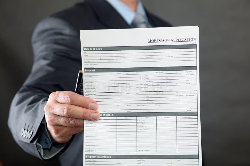Formulário de aplicação da hipoteca foto de stock