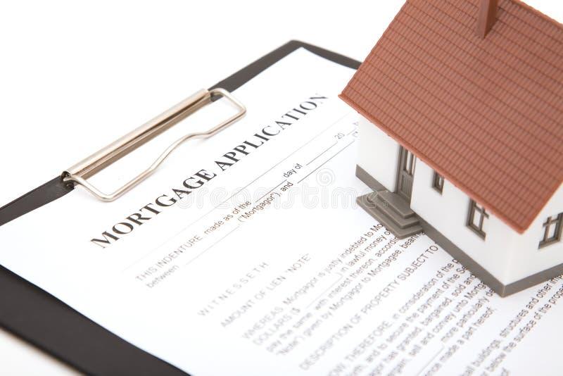 Formulário de aplicação da hipoteca fotografia de stock