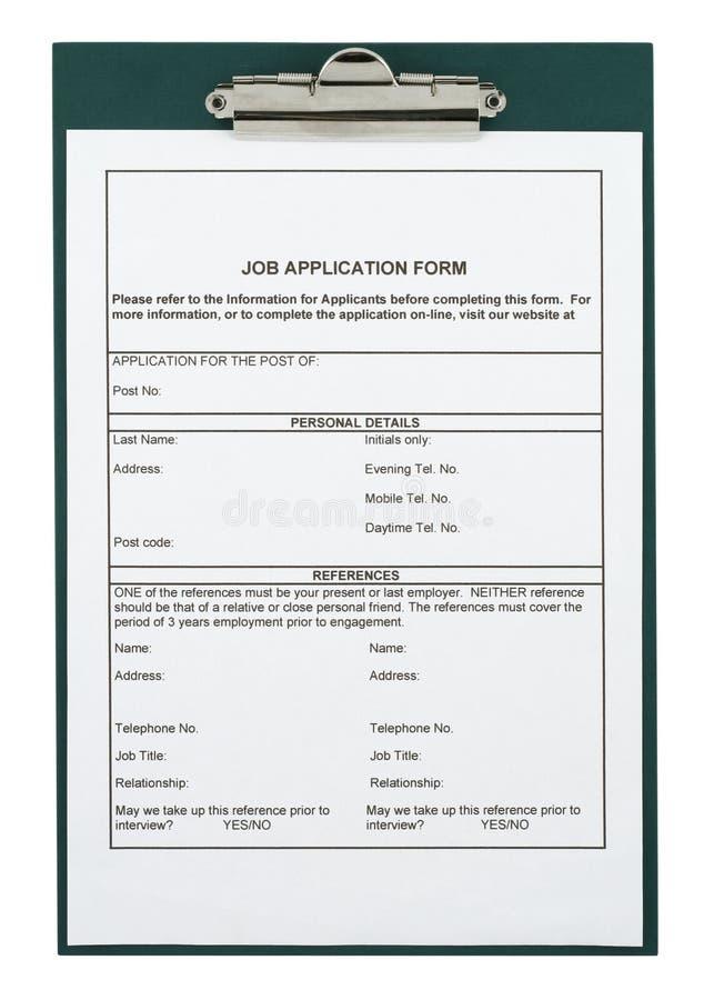 Formulário de aplicação do trabalho fotos de stock royalty free