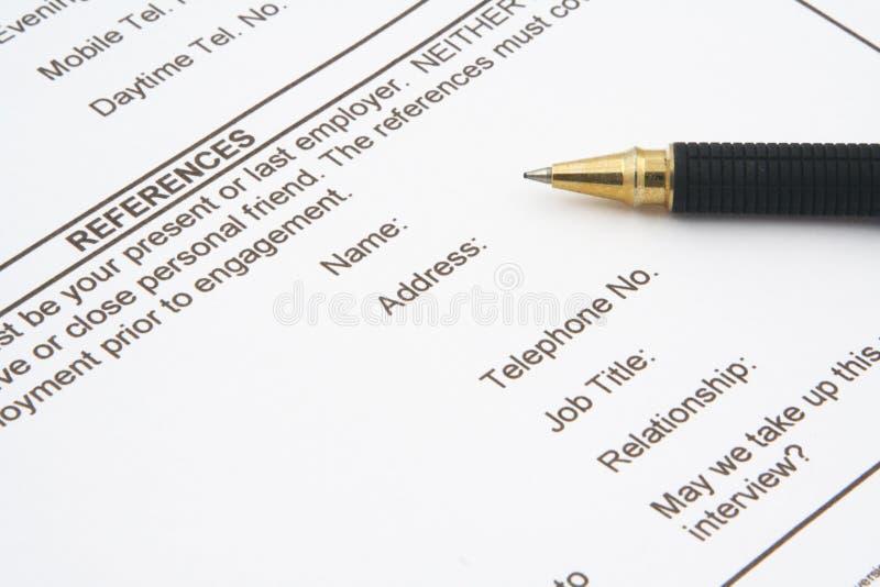 Formulário de aplicação do trabalho foto de stock