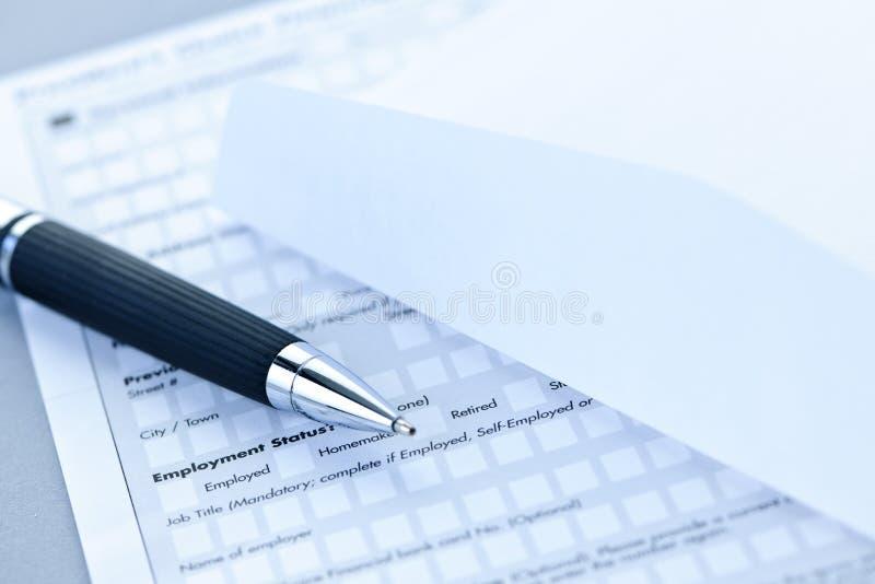 Formulário de aplicação financeiro imagem de stock