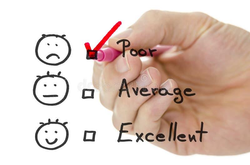 Formulário de avaliação do serviço ao cliente com tiquetaque em pobres fotos de stock