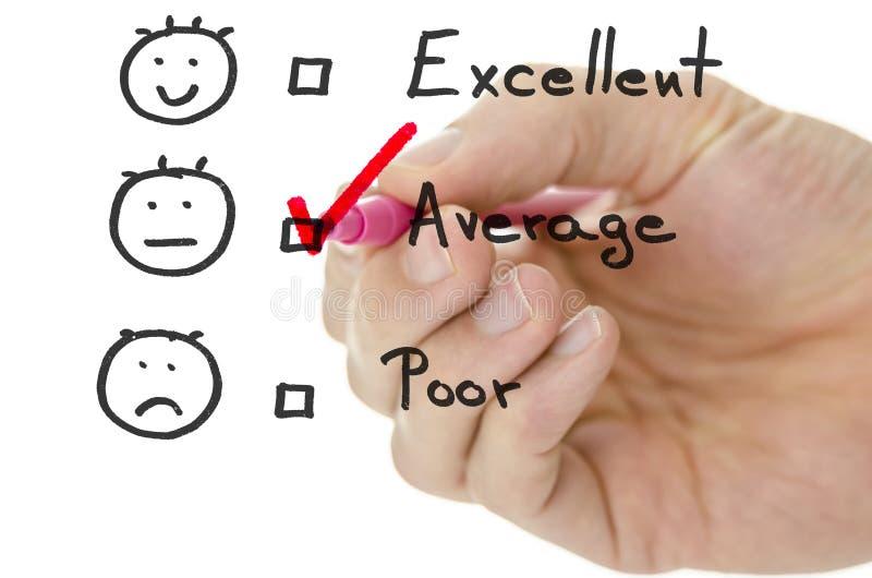 Formulário de avaliação do serviço ao cliente com tiquetaque na média imagens de stock
