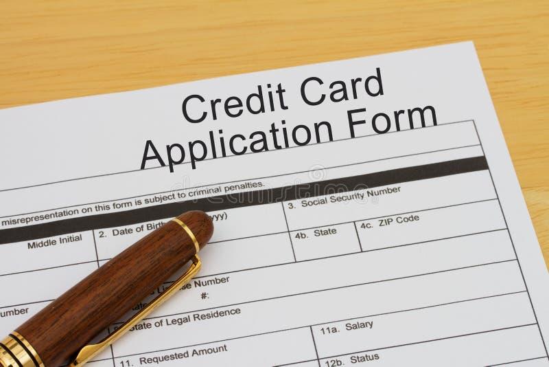 Formulário de candidatura do cartão de crédito foto de stock