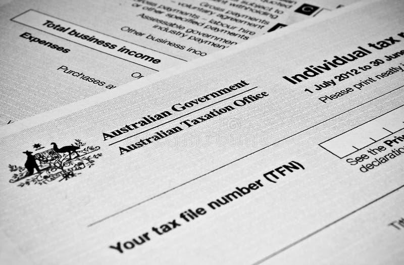 Formulário de declaração de rendimentos individual australiano fotos de stock royalty free