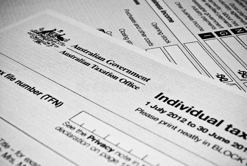 Formulário de declaração de rendimentos individual australiano fotografia de stock royalty free