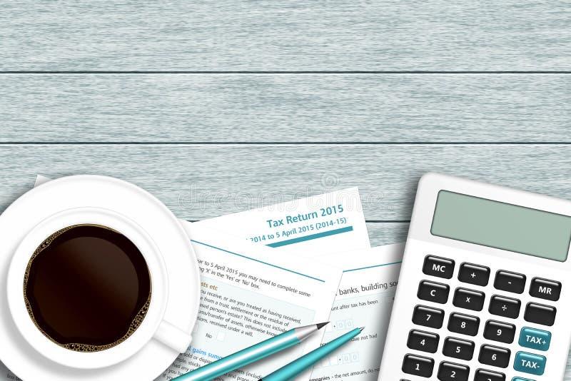 Formulário de imposto BRITÂNICO com calculadora, café que encontra-se na mesa de madeira ilustração royalty free