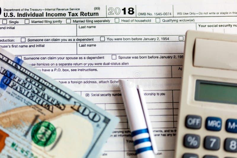 Formulário de imposto 1040 dos E foto de stock royalty free