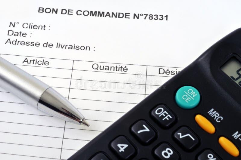 Formulário de ordem escrito em francês ilustração do vetor
