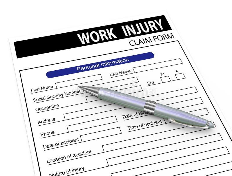 formulário de reclamação de ferimento da pena 3d e de trabalho ilustração do vetor