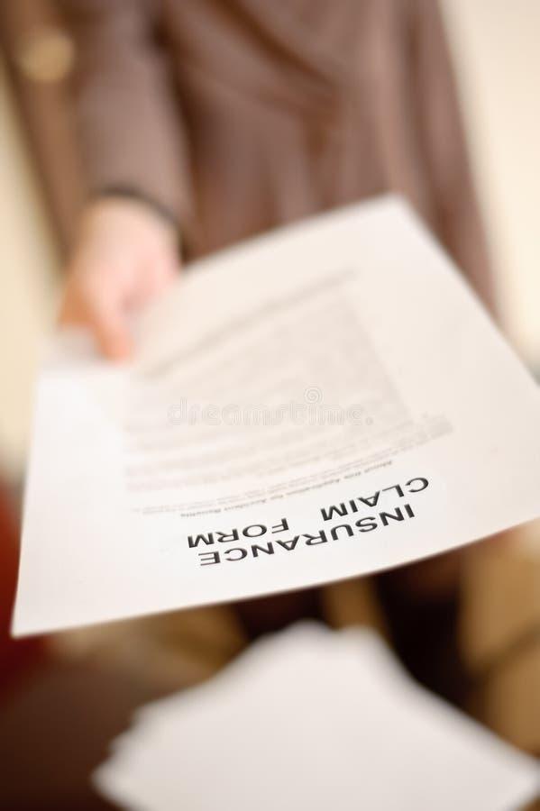 Formulário de reivindicação do seguro imagens de stock