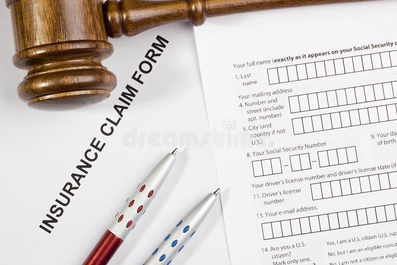 Formulário de reivindicação do seguro fotografia de stock royalty free